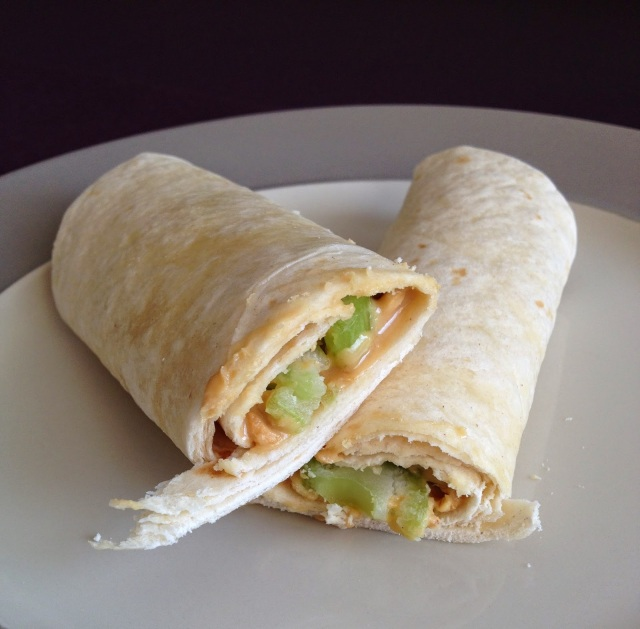 Celery and Peanut Butter Wraps