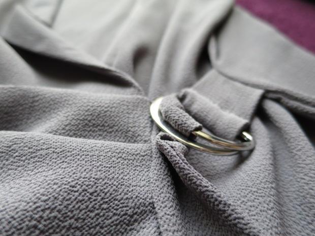 New Look Dark Grey D-ring wrap sleeveless top
